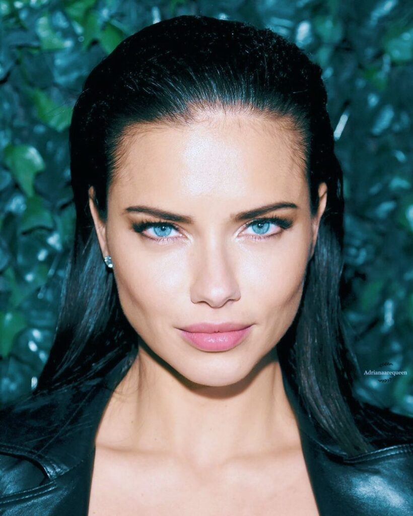 Adriana Lima  Black Hair Blue Eyes