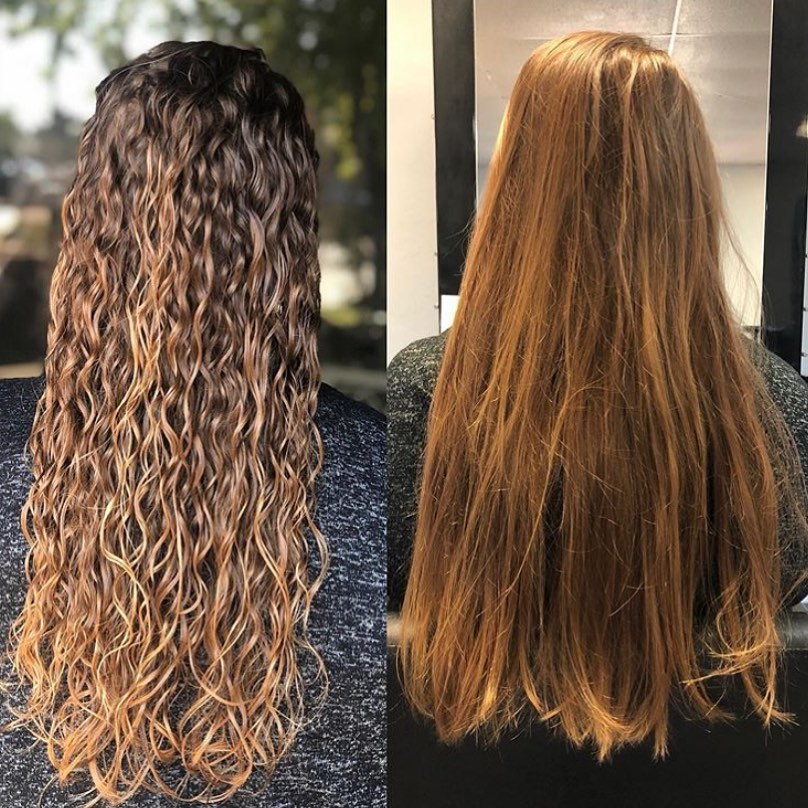 Beach Wave Perm Before and After Picture