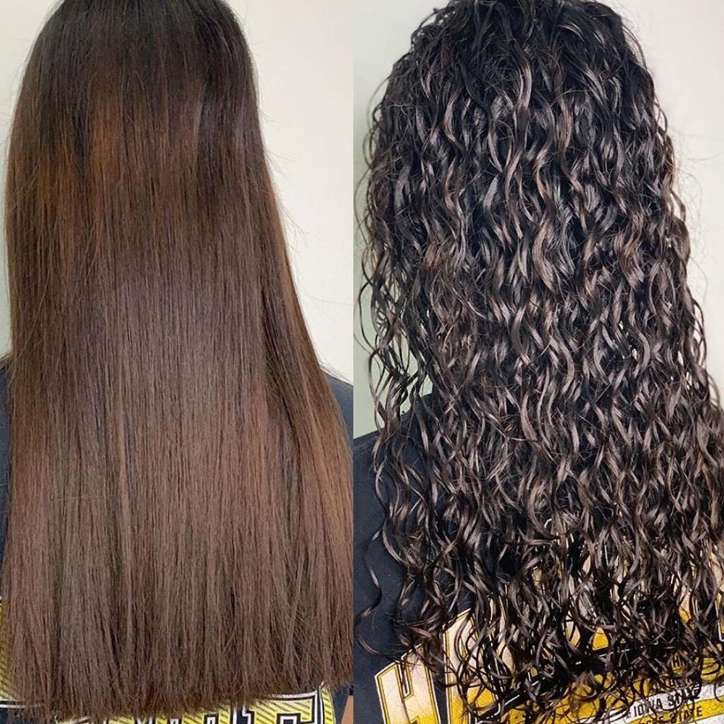 Beach Wave Perm Hairstyle Before and After Pictures