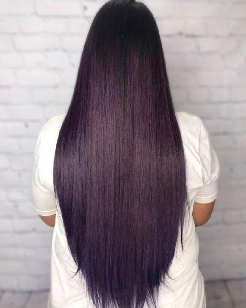 Straight Dark Purple Hair