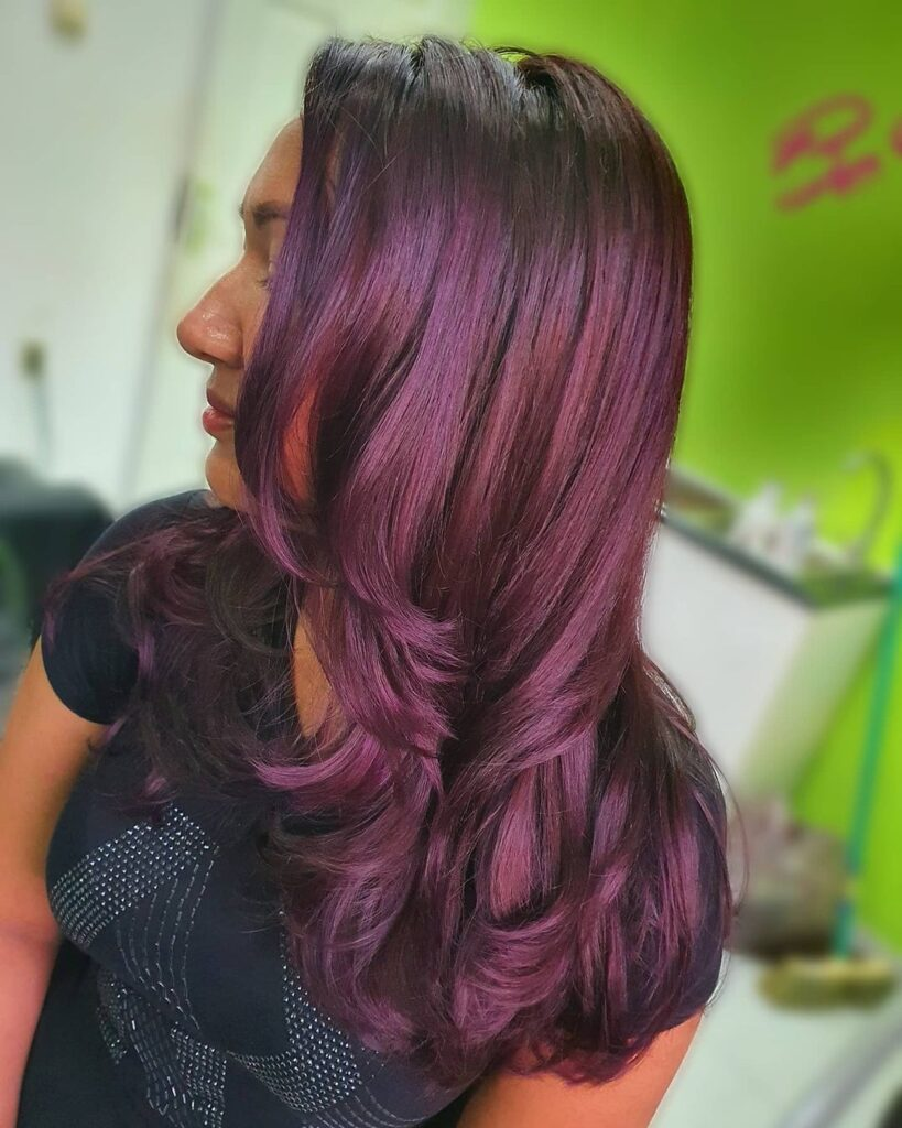 Wavy Dark Purple Hair
